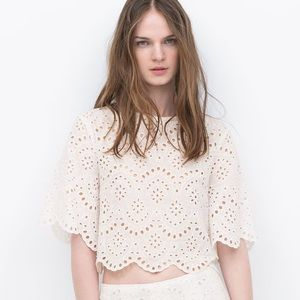 Zara White Crochet Scallop Hem Crop Top